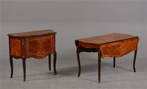 Entrékommode og sofabord med klapper af rosentræ m. intarsia 2