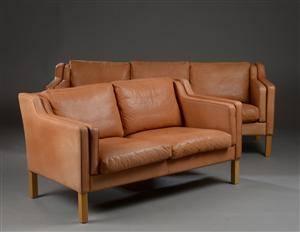 Thams Møbelfabrik. 3-pers. og 2-pers. sofaer, læder.