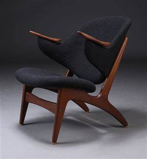 Dansk møbelproducent, lænestol, gråt uld, 1960erne