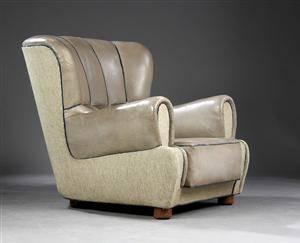 Ubekendt møbelarkitekt. Lænestol, læder og stof
