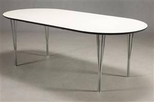 Elipseformet Spisebord i hvid laminat med tillægsplade 2