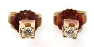 Par diamant ørestikkere i 14 kt guld 2