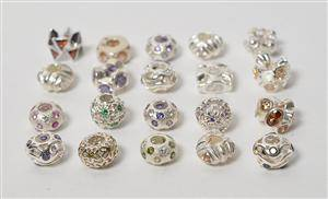 20 Charlotte Borgen beads  Charms af sterling sølv med Cubic Zirkonia 20