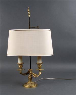 Bouillotte lampe af forgyldt bronce, 1900-tallets første halvdel