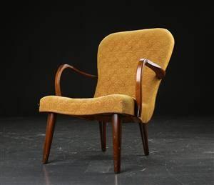 Lænestol af bejdset træ, dansk møbelproducent 1940erne