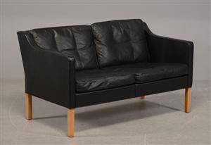 Børge Mogensen, to-pers.sofa m. sort læder model 2422