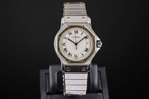 Cartier Santos armbåndsur af guld og stål