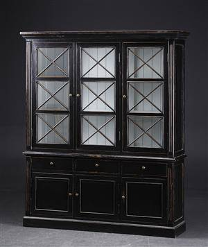 Stort vitrineskab, sort antikbemaling 2