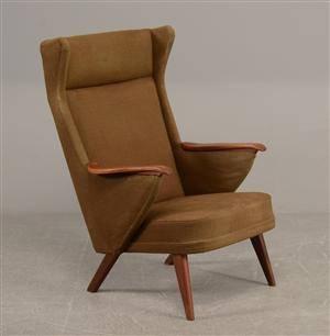 Højrygget lænestol med teak  uld, 1960erne