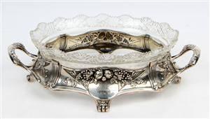 Bernhard Hertz Jardiniere af sølv med krystalsleben glasindsats.