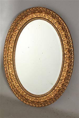 spejl med guldramme Slutpris för Ovalt spejl med guldramme spejl med guldramme