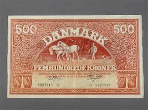 Danmark. 500 kr. 1956 Ombytningsserie RØD PLOVMAND, Sieg 127, DOP 136, Pick 41