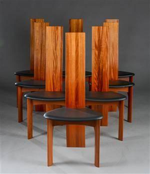 Bob og Dries van den Berghe. Otte højryggde stole, model Iris 8