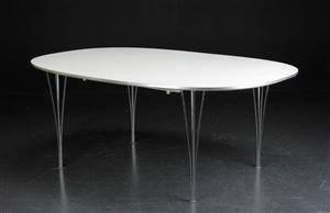 Piet Hein  Bruno Mathsson. Super Ellipse spisebord med to tillægsplader 3