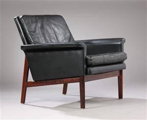 Finn Juhl. Lænestol, sort læder, palisander, model 218.