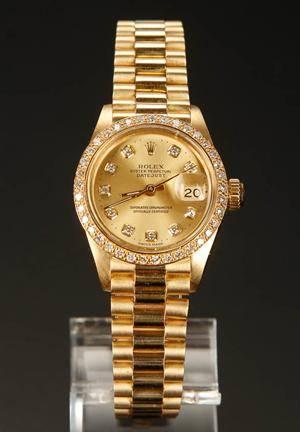 ROLEX 18kt guld Customized dame armbåndsur med diamanter