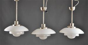 3 st taklampor i glas, 1930-tal