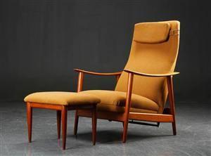 Lænestol af teak og uld, med skammel, 1950erne, dansk møbeldesign 2