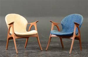 Par lænestole af teak  uld, 1950erne 2
