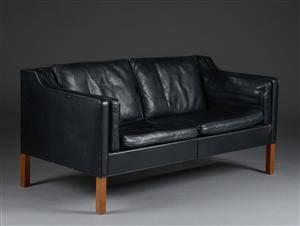 Børge Mogensen. To-pers. sofa, model 2212, originalt læder