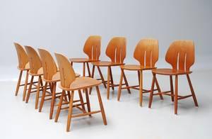 Ejvind A. Johansson f. 1923. Sæt på otte stole i eg. Model J 67 8