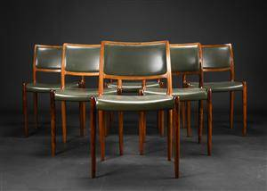 Niels O. Møller. Seks stole af palisander, model 80 6