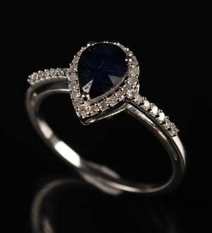 Safir- og brillant ring