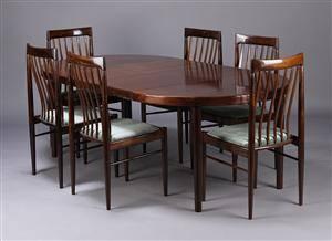 Bramin, spisebord samt seks spisestole, mahogny 7