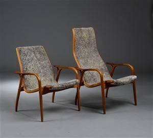 Yngve Engström. Par lænestol, model Lamino af eg og teaktræ 2