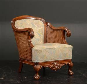 Lænestol af bejdset træfransk flet, 1930-1940erne