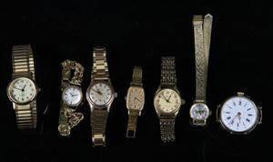 Seiko, Certina, Inex mfl. Samling dame armbåndsure samt lommeur af guld og gulddouble 7