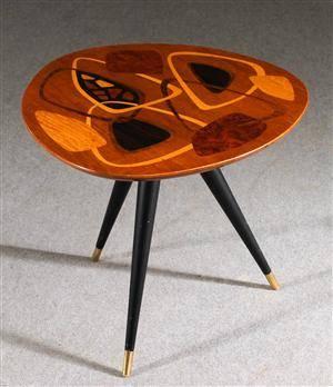 Bord med intarsia, SMI, 1950-tal