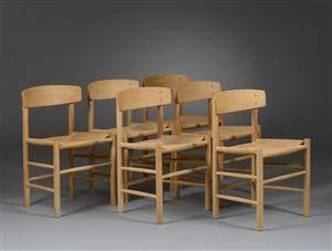 Børge Mogensen. Et sæt på seks stole J 39 6