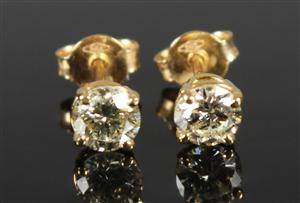 Ørestikkere, 14 kt guld, brillanter ca. 0.75 ct., et par 2