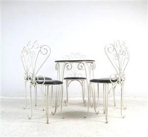 Set Stahldraht Stühle  Wire Chairs  Tisch der 1950er Jahre, Shabby Chick 6