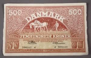 Danmark. `Ombytningsserien, 500 kr 1962 `Plovmand´ - Sieg 127, DOP 136, Pick 41