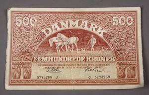 Danmark. `Ombytningsserien, 500 kr 1959 `Plovmand´ - Sieg 127, DOP 136, Pick 41