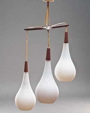 Holmegaard. Retro lampe med tre skærme 1950érne.