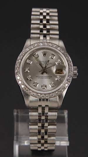 Rolex Oyster Perpetual Datejust Customized dame armbåndsur med diamanter.