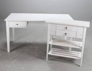 Skrivbord samt sidobord, vitt, 2000-tal
