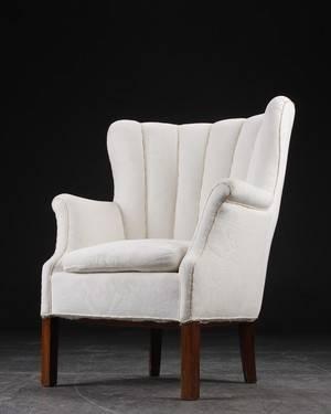 Lænestol  salonstol, bejdset træ, dansk møbelproducent