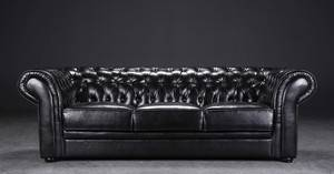 Tre-pers. Chesterfield sofa, sort