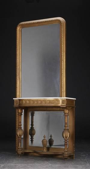 Stort Louis Philippe spejl med tilhørende konsol, 1800-tallet 2