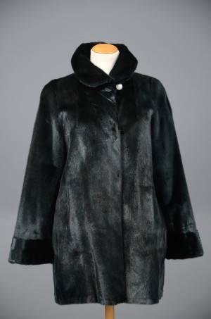 Great Greenland indfarvet grøn silkesælskinds pelsjakke ca. str. 44-48-48 - Stampe pels