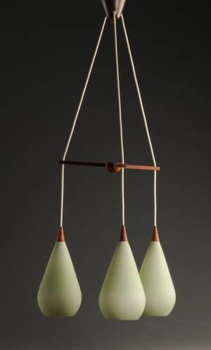 Pendel teak og farvet opalglas
