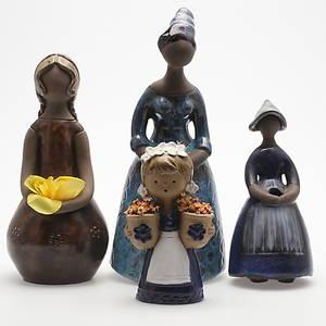 FIGURINER, keramik, 4 st, 1900-talets andra hälft.