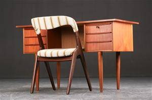 Skrivebord samt stol, teak, 1960erne, dansk møbelproducent 2