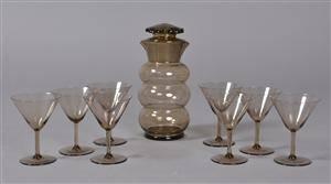 Karaffel samt 8 cocktailglas, Edward Hald-tilskrevet, 1900-tallets første halvdel 9