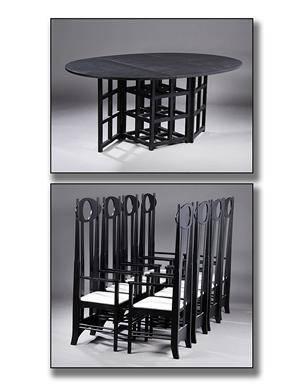 Charles Rennie Mackintosh. Gate Leg Folding Table samt otte Argyle Chairs 9