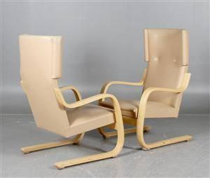 Alvar Aalto, Artek, fåtöljer modell 401, skinn, 2 st